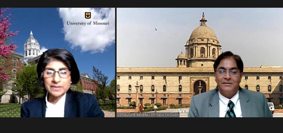Consul General Amit Kumar met Dr. Latha Ramchand, Provost and Executive Vice Chancellor of University of Missouri, Columbia on 27 may, 2021